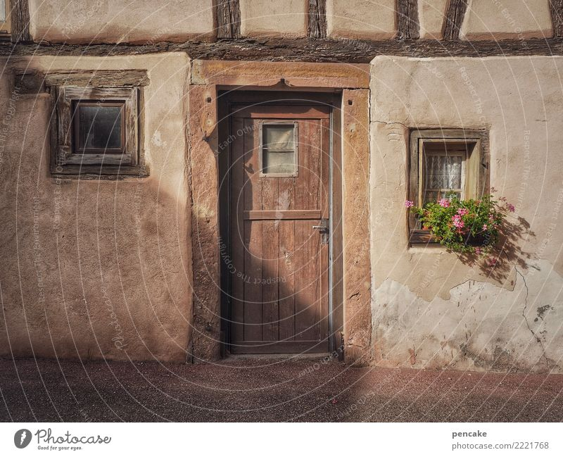 Old Flower Window Architecture Building Facade Door Esthetic Idyll Authentic Historic Friendliness France Old town Cozy Small Town