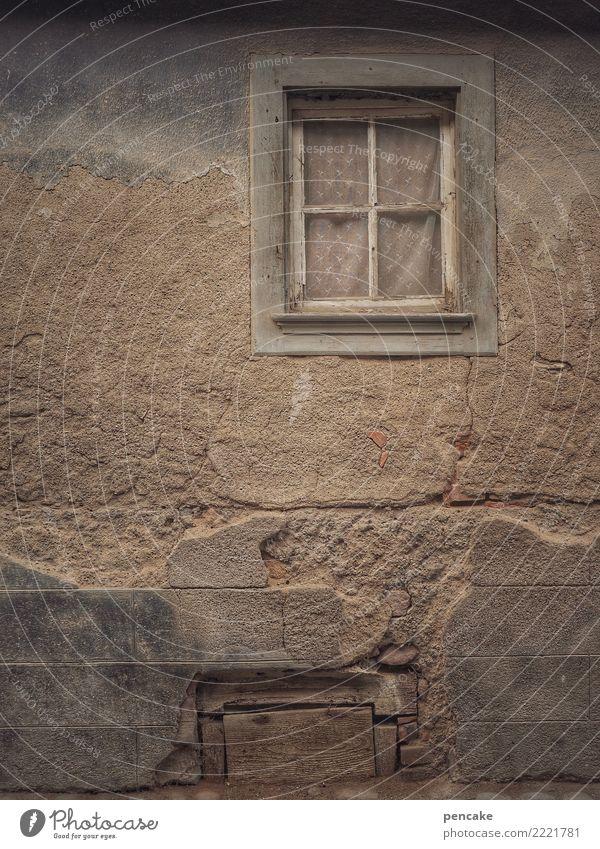 Old Window Facade Retro Gloomy Authentic Past Old town Derelict November Original November mood Alsace