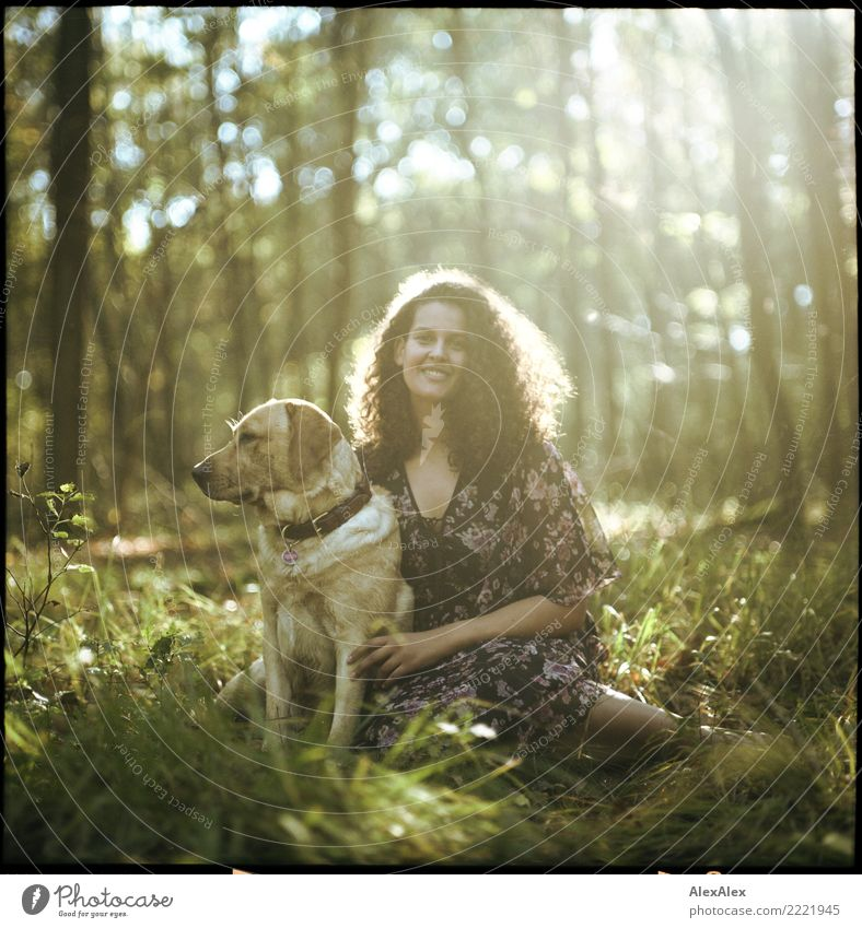 Nature Youth (Young adults) Young woman Summer Beautiful Autumn Natural Feminine Grass Happy Trip Esthetic Idyll Sit Smiling Authentic