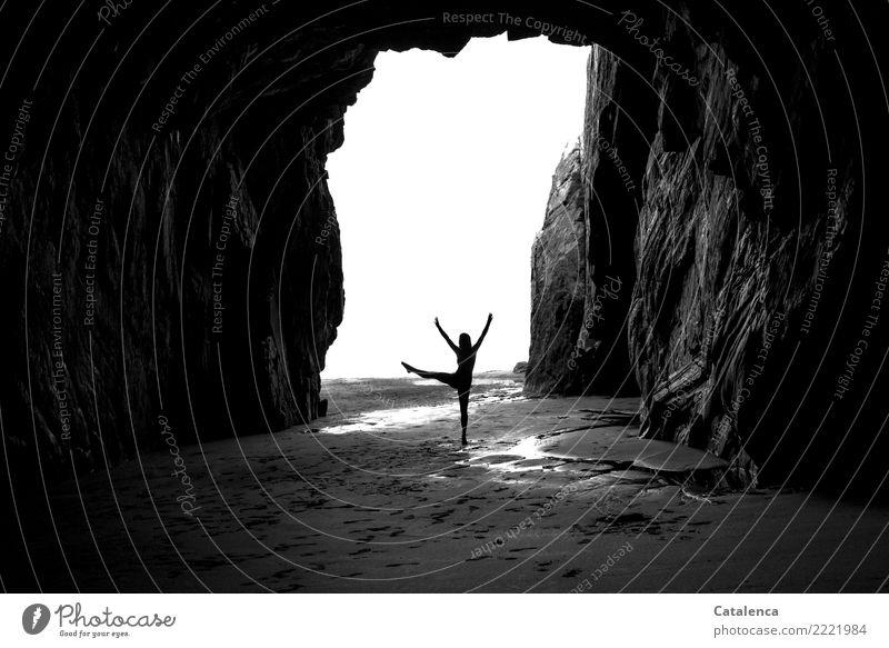 Lift up your dancing leg with a swing. Elegant Dance Dancer Ballet Feminine 1 Human being Elements Sand Air Water Cloudless sky Summer Rock Coast Beach Cave