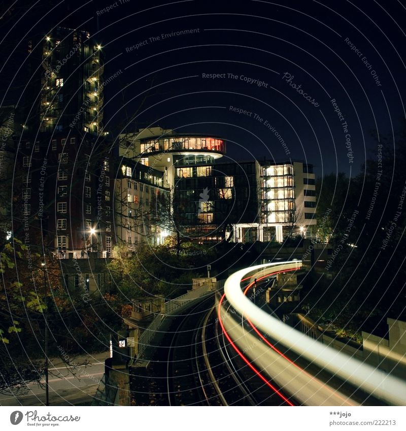 speed of light. Hamburg St. Pauli Town House (Residential Structure) High-rise Architecture Rail transport Commuter trains Railroad tracks Speed Skyline Curve