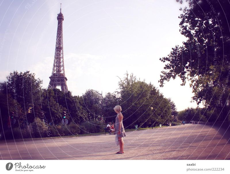 Summer Dream Paris Tourism Longing Historic To enjoy Tourist Wanderlust Ease Landmark Tourist Attraction Famousness Summer vacation Vacation & Travel Eiffel Tower