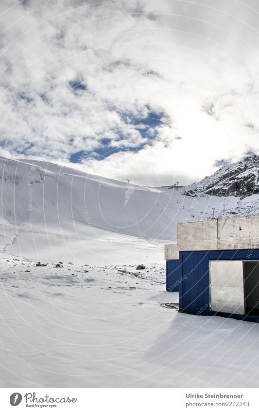 tool sheds Landscape Clouds Ice Frost Snow Rock Alps Mountain Austria Snowcapped peak Metal Glittering Tall Cold Above Blue Silver White Container Engine room