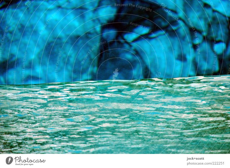 water barrier Blue Green Water Environment Warmth Movement Background picture Stone Moody Rock Glittering Warm-heartedness Simple Stripe Protection River