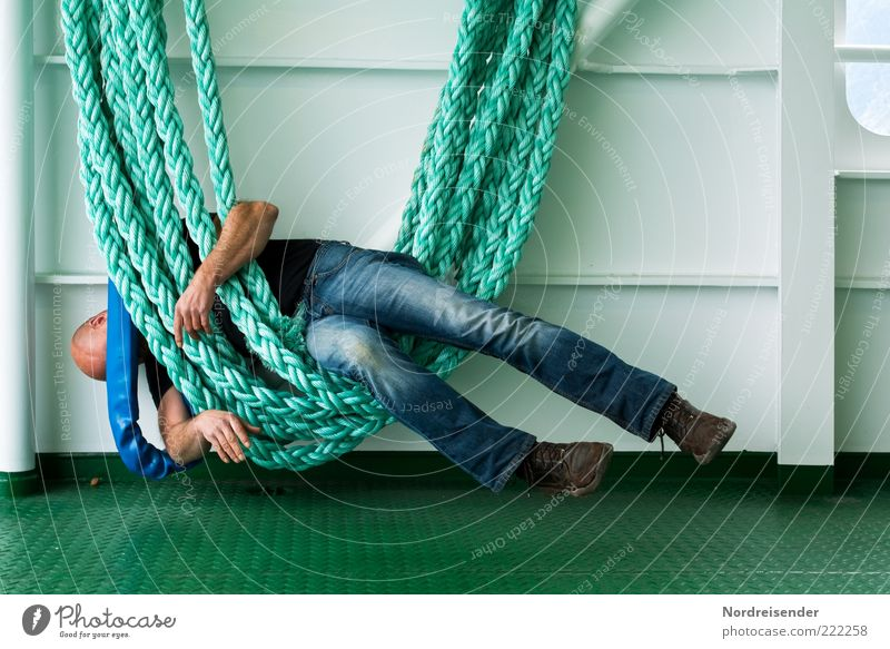 Hanging on the ropes... Lifestyle Relaxation Human being Masculine Man Adults Navigation Passenger ship Rope On board Jeans Hiking boots Bald or shaved head