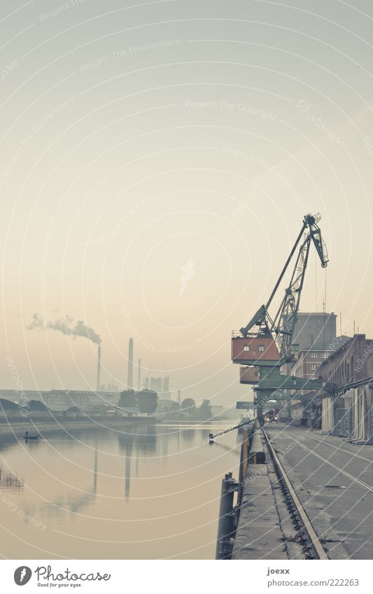 Water Sky Old Blue Brown Industry River Harbour Railroad tracks Jetty Chimney Crane Industrial plant Haze Rhine Karlsruhe