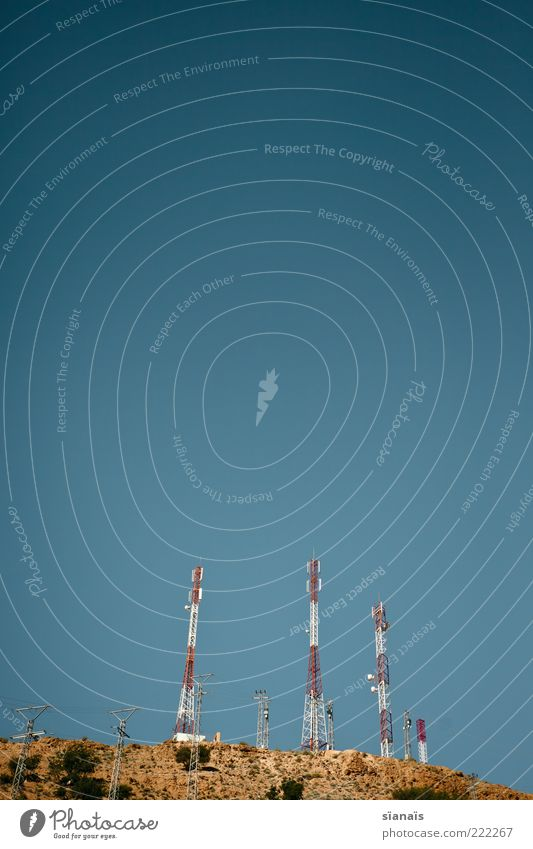 Summer Far-off places Gloomy Future Threat Technology Communicate Telecommunications Beautiful weather Blue sky Telegraph pole Advancement Minimalistic
