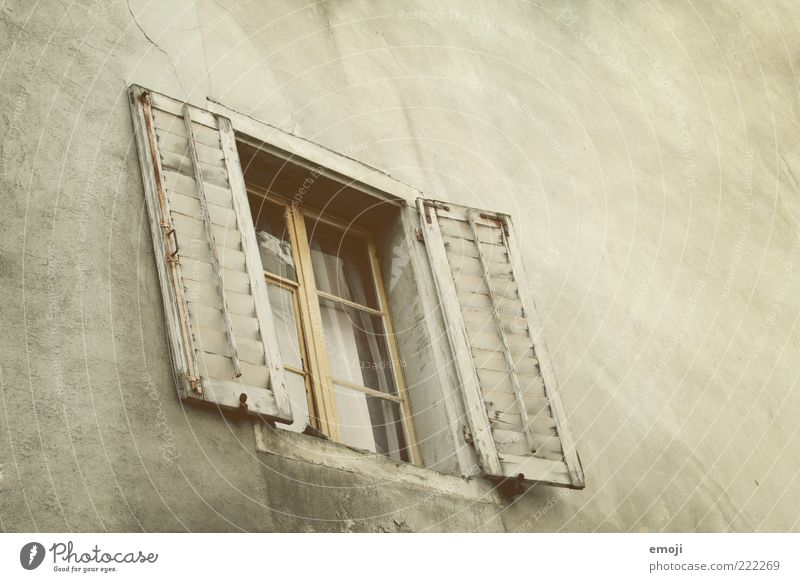 tone in tone in tone House (Residential Structure) Building Architecture Wall (barrier) Wall (building) Facade Window Old Brown Shutter Window frame Window pane