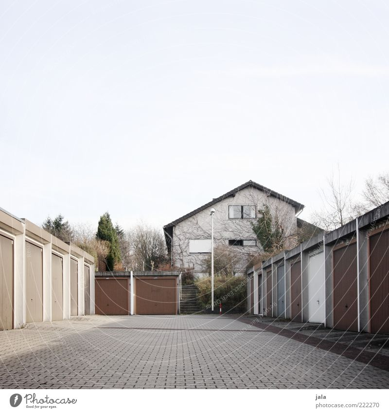 Sky Tree Plant House (Residential Structure) Architecture Building Facade Places Gloomy Bushes Manmade structures Parking lot Garage Paving stone Garage door
