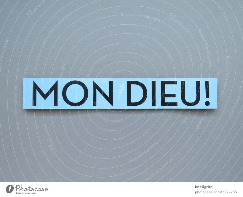 MON DIEU! Characters Signs and labeling Communicate Sharp-edged Blue Gray Black Emotions Enthusiasm Belief Surprise Religion and faith Mon Dieu France