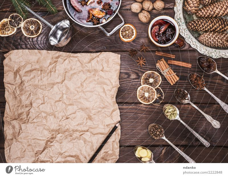 brown sheet of paper and ingredients Christmas & Advent Dish Wood Brown Above Retro Paper Herbs and spices Beverage Hot Alcoholic drinks Sugar Pencil Pot