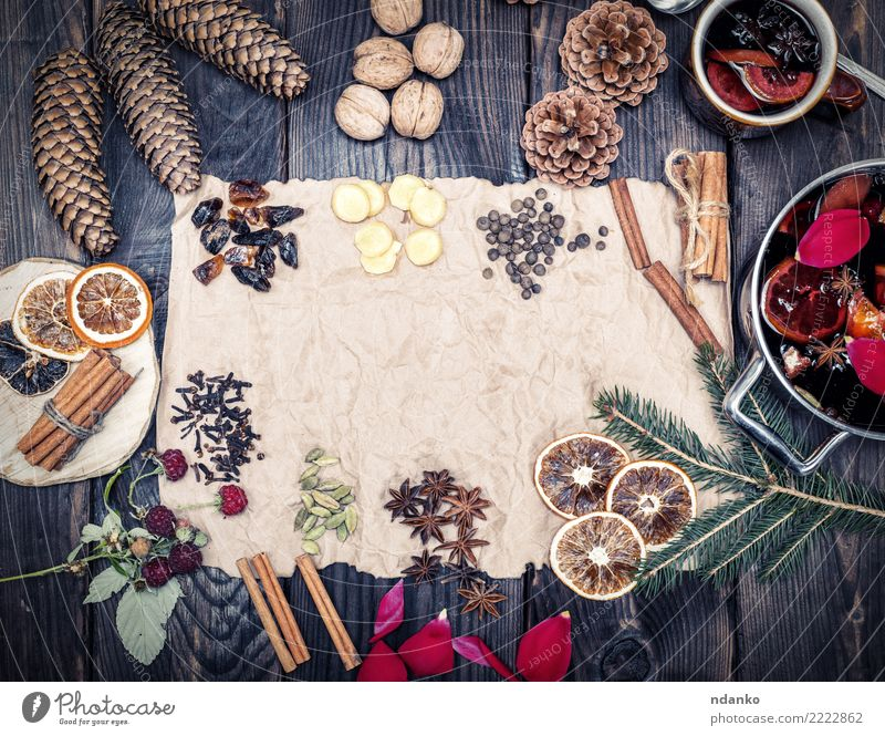 paper and spices Red Wood Brown Above Retro Paper Herbs and spices Beverage Hot Alcoholic drinks Sugar Pot Festive Rustic Ingredients Pan
