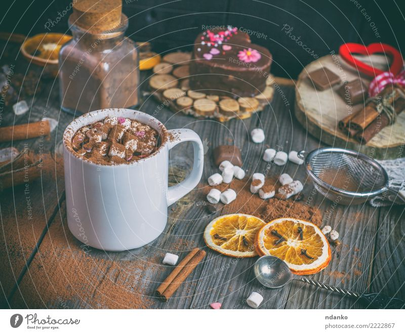 hot chocolate with marshmallows Cake Candy Hot drink Hot Chocolate Cup Spoon Table Wood Heart Eating White mug orange sweet Cinnamon Rustic vintage Colour photo
