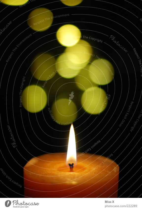 Yellow Glittering Candle Illuminate Point Burn Flame Candlelight Wick Glint