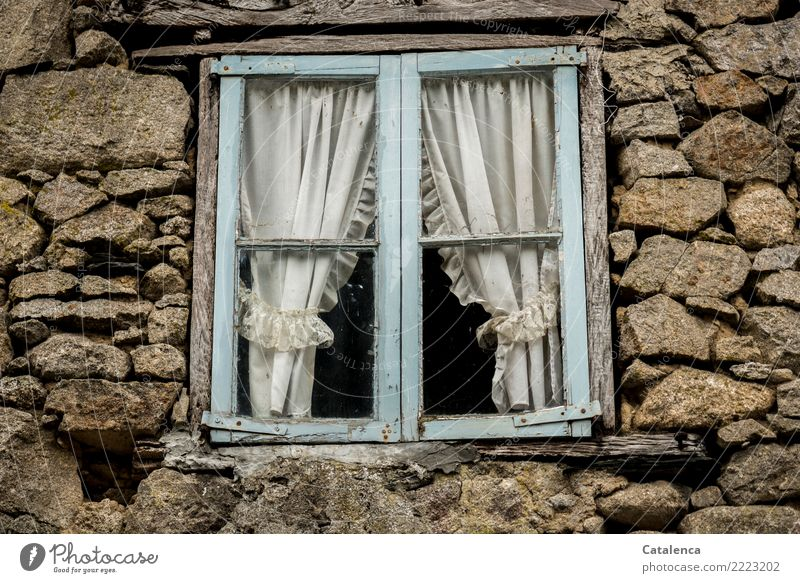 Old Blue White Loneliness Window Wall (building) Senior citizen Wood Building Time Wall (barrier) Stone Brown Facade Moody Living or residing