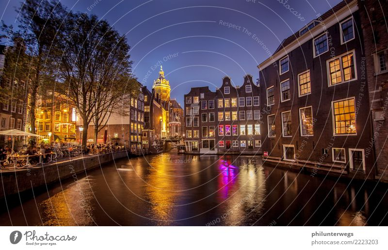 Red light districts and canals in Amsterdam at night Tourism City trip Night life Entertainment Party Restaurant Club Disco Bar Cocktail bar Lounge Going out