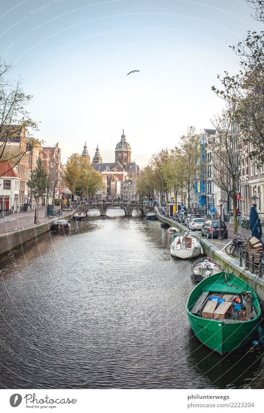Red light district Amsterdam by day Water Beautiful weather River bank Gracht Netherlands Town Capital city Port City Downtown Old town Deserted