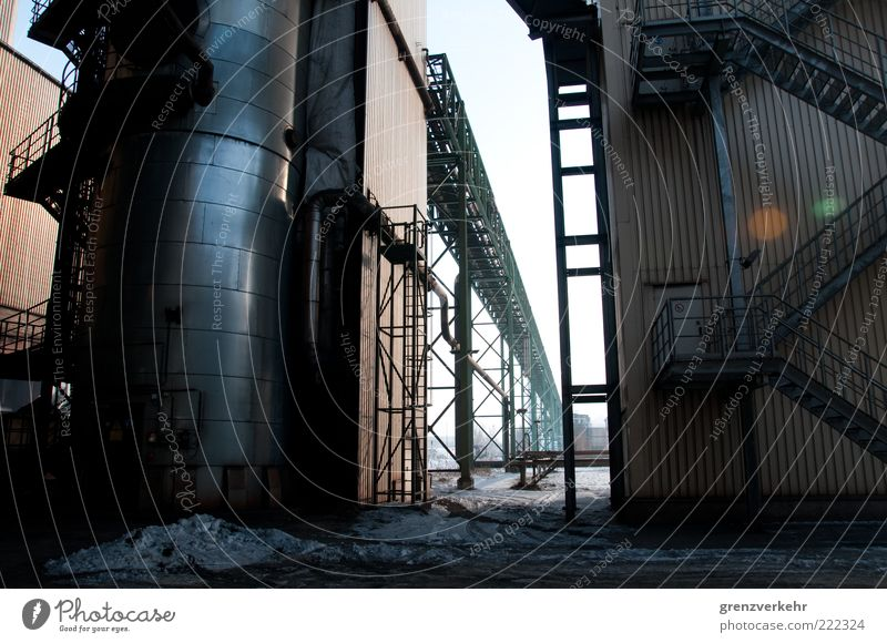 Cold Dark Gray Metal Power Industry Stairs Steel Iron Banister Industrial plant Copy Space Furnace Steel factory