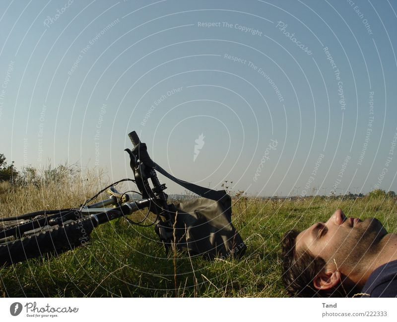 Human being Man Youth (Young adults) Sun Summer Calm Relaxation Happy Head Contentment Bicycle Adults Masculine Trip Lie Serene