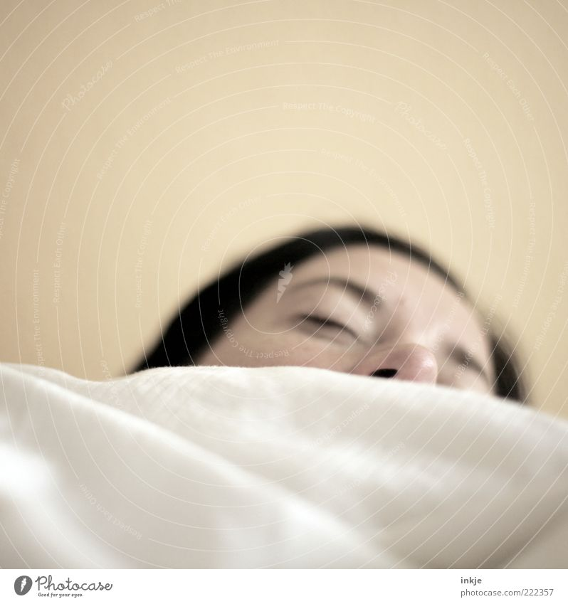 Woman Calm Face Adults Relaxation Emotions Dream Moody Nose Sleep Bed Warm-heartedness Fatigue Brunette Well-being Breathe