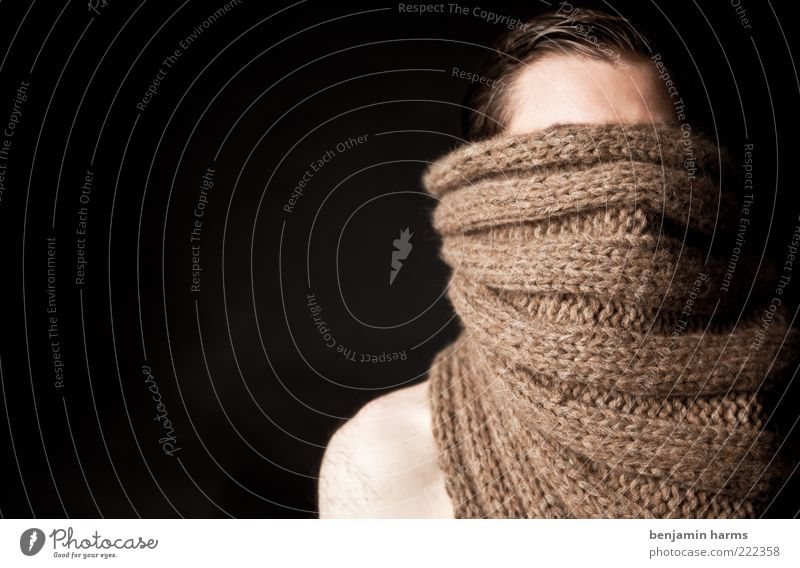 Human being Man Moody Brown Masculine Portrait photograph Hide Anonymous Scarf Frustration Fear of the future Concealed Forehead Invisible Short-haired