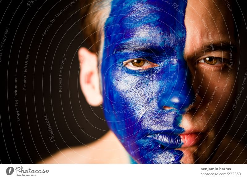 Human being Youth (Young adults) Blue Face Colour Brown Adults Masculine Mask Anger Division Portrait photograph Aggression Doubt Indecisive Painted