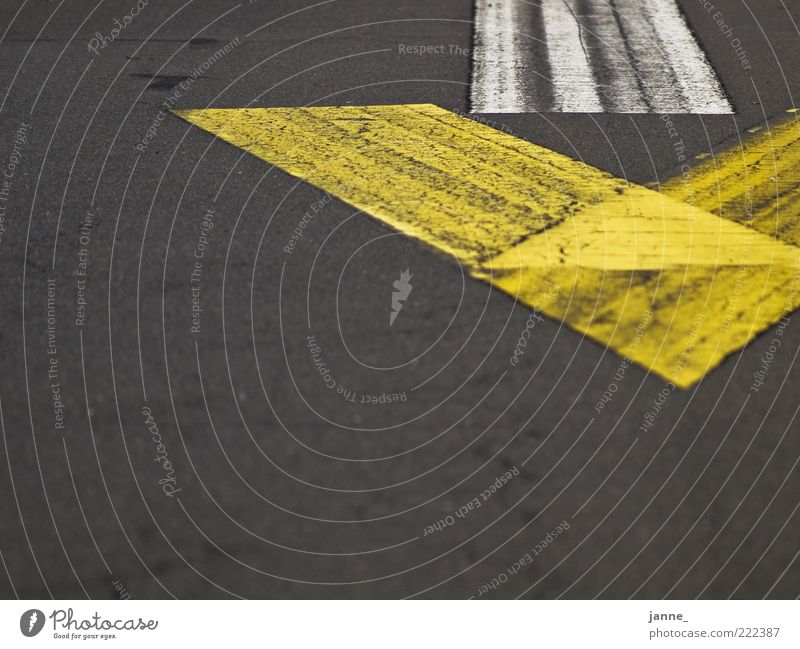 groundbreaking Street Sign Arrow Asphalt Yellow Gray White Colour photo Exterior shot Deserted Day Light Copy Space left Copy Space bottom Lane markings Tar