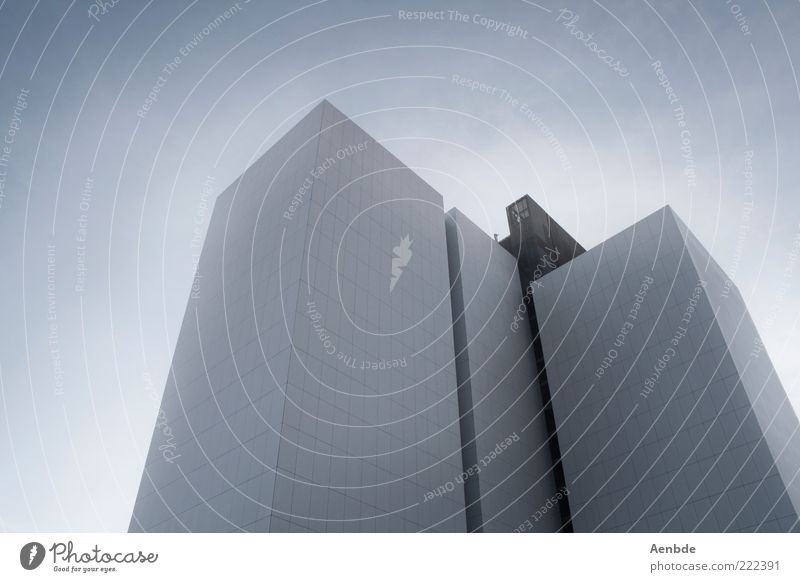 The headquarters Sky Town House (Residential Structure) High-rise Architecture Facade Window Observe Esthetic Threat Sharp-edged Simple Cold Gloomy Blue Silver