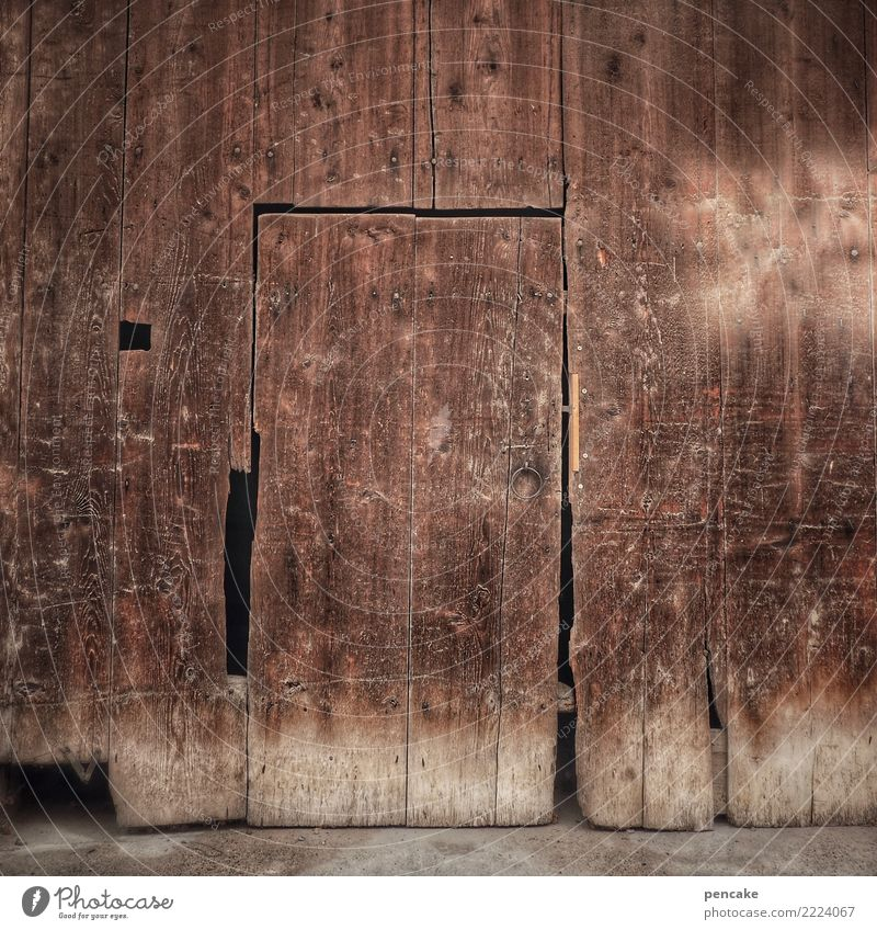 Old House (Residential Structure) Wood Facade Weather Door Authentic Historic Simple Past Old town Village Hut Vintage Wooden wall Weathered