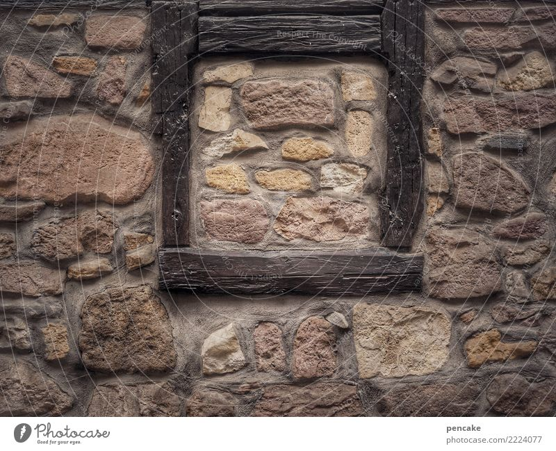 Picture in picture Small Town Old town House (Residential Structure) Facade Window Historic Secrecy Closed Past Frame Image Stone wall Enclosed Wall (barrier)