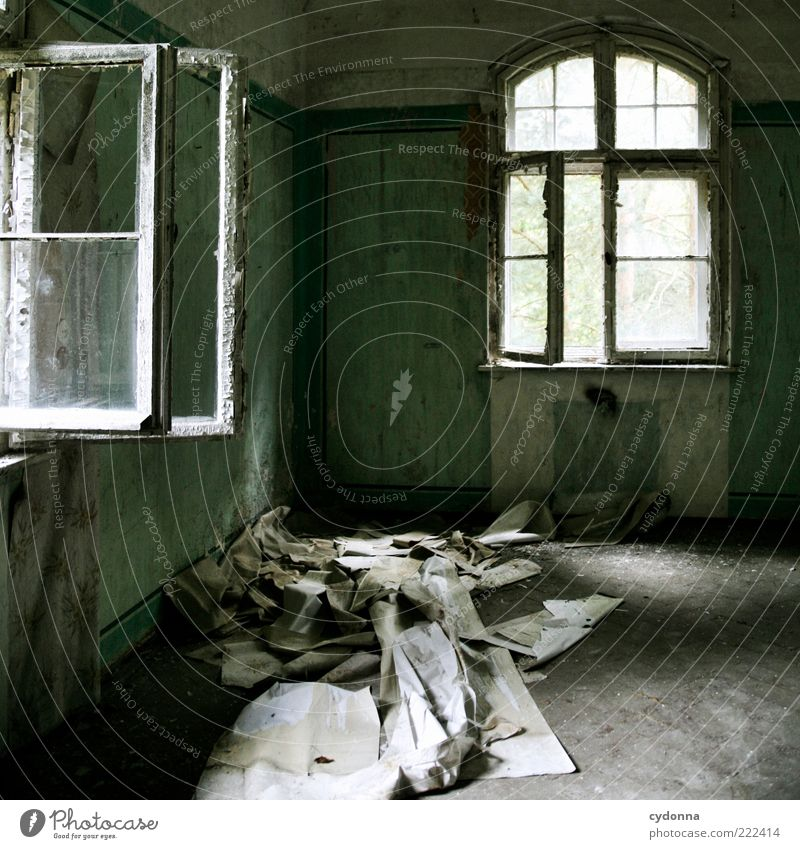 Old Calm House (Residential Structure) Loneliness Wall (building) Window Wall (barrier) Room Time Change Transience Uniqueness Mysterious Derelict Wallpaper Decline