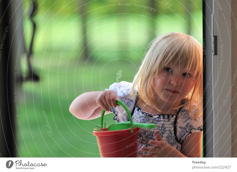 Human being Child Hand Girl Playing Hair and hairstyles Sand Head Blonde Infancy Arm Dress To hold on Lips Diligent Shovel
