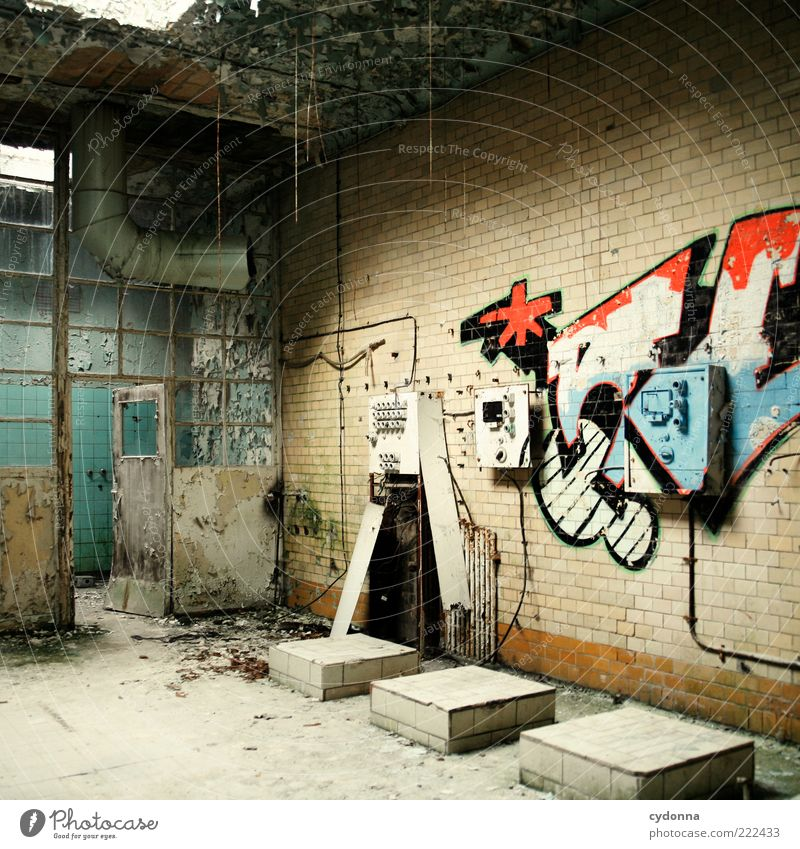 Free design Lifestyle Room Industrial plant Ruin Wall (barrier) Wall (building) Door Graffiti Esthetic Design Apocalyptic sentiment Idea Uniqueness Creativity