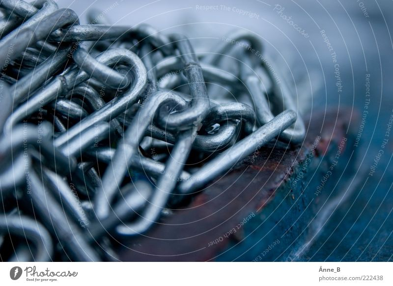 Volatile II Chain Chain link Fastening Attach Metal Attachment To hold on Dark Blue Silver Emotions Moody Power Might Calm Surveillance Iron chain Colour photo