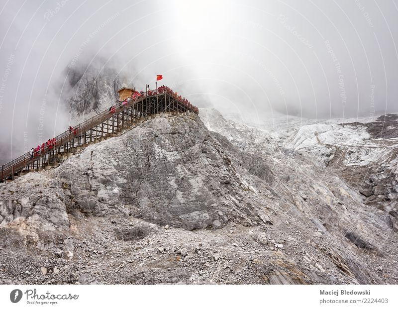Viewing platform at the Jade Dragon Snow Mountain. Vacation & Travel Tourism Adventure Sightseeing Expedition Camping Winter Hiking Climbing Mountaineering
