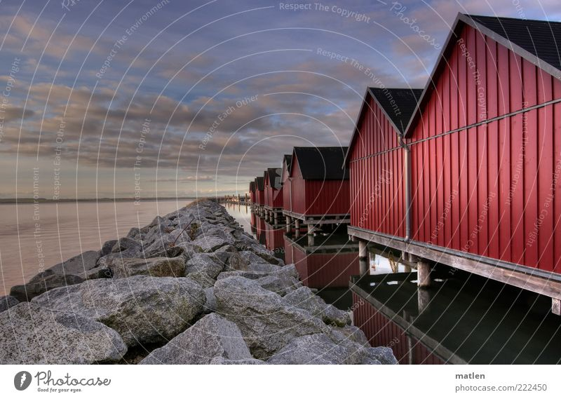November sun House (Residential Structure) Landscape Water Sky Clouds Horizon Autumn Beautiful weather Baltic Sea Ocean Deserted Hut Blue Red Calm Stone Mole