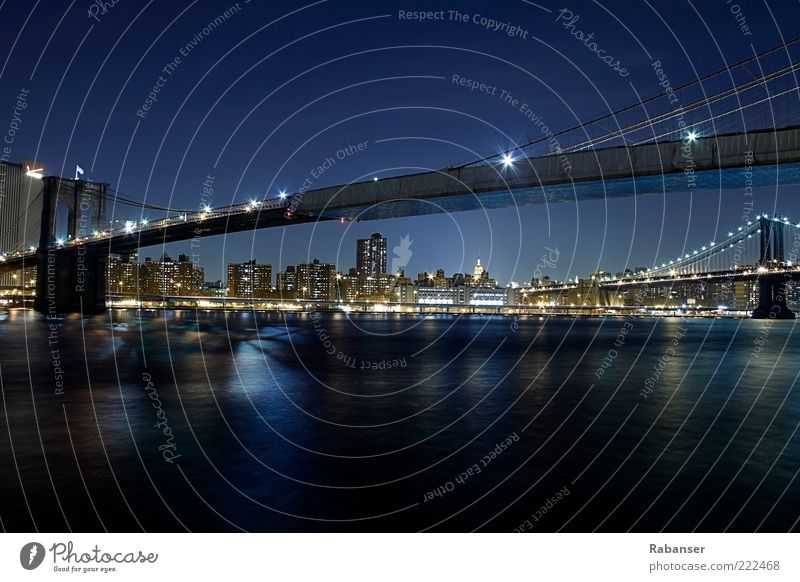 Brooklyn Bridge south view Transport Street Old Esthetic Bright Beautiful Blue Black Large New York City Americas Travel photography Light Night