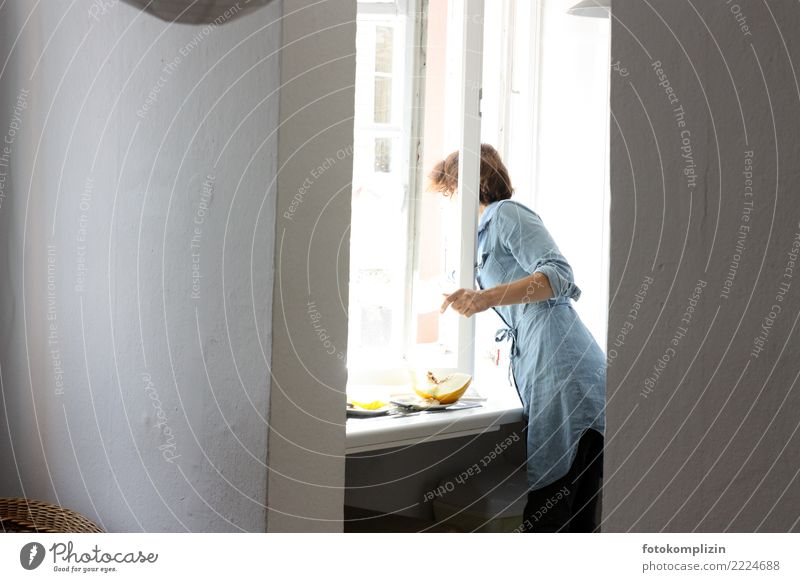 At the window Healthy Eating Living or residing Flat (apartment) Window Window board View from a window kitchen window Period apartment Feminine Woman Adults 1