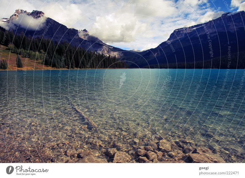 A day at the lake Environment Nature Landscape Water Sky Clouds Beautiful weather Forest Hill Mountain Lakeside Lake Emerald Canada Fluid Esthetic Loneliness