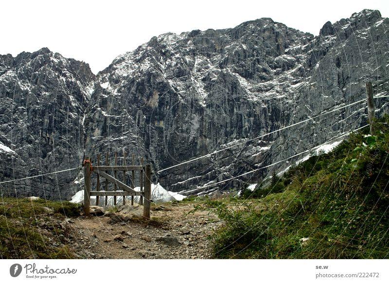 Nature White Green Black Loneliness Dark Mountain Grass Lanes & trails Rock Alps Gate Alpine pasture Austria Wooden gate Wire fence