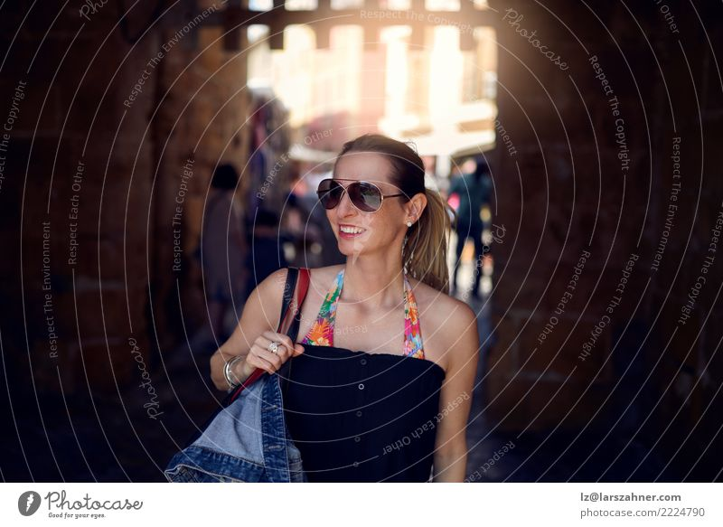 Attractive trendy woman wearing sunglasses Woman Human being Vacation & Travel Summer Town Adults Street Warmth Lifestyle Happy Tourism Copy Space Blonde