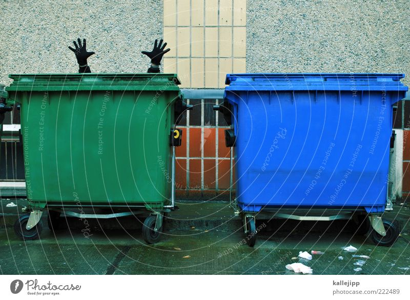 for the ton Human being Masculine Man Adults Hand Fingers 1 Trash Waste utilization Trash container Search Colour photo Subdued colour Exterior shot Day Light