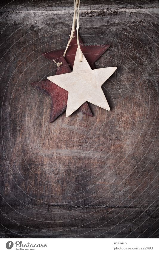 Natural Wood Authentic Simple Star (Symbol) Sign String Kitsch Hang Anticipation Sewing thread Festive Christmas decoration Christmas star