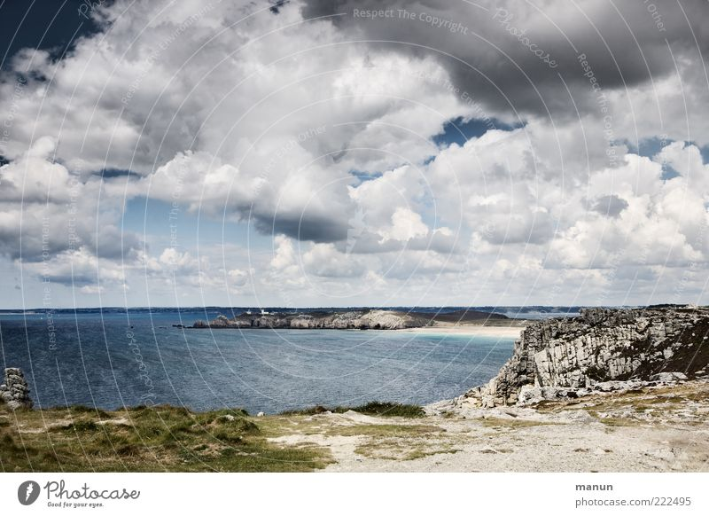 wanderlust Far-off places Nature Landscape Elements Earth Sand Water Clouds Storm clouds Weather Grass Bushes Moss Coast Beach Bay Ocean Atlantic Ocean Brittany