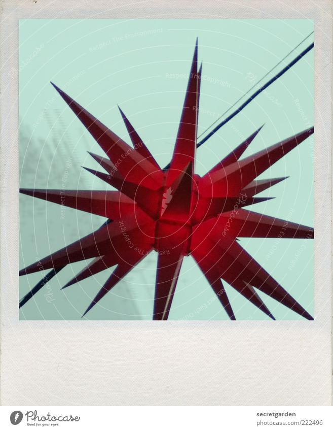 Christmas & Advent Sky Blue Beautiful Red Dark Art Paper Star (Symbol) Gloomy Decoration Kitsch Point Turquoise Illuminate