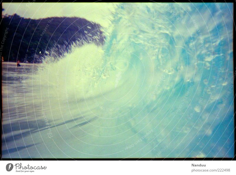 wild Water Ocean Indian Ocean Wet Seychelles Africa Waves Inject Swimming & Bathing Tsunami To break (something) Surf Beach Copy Space right Copy Space bottom