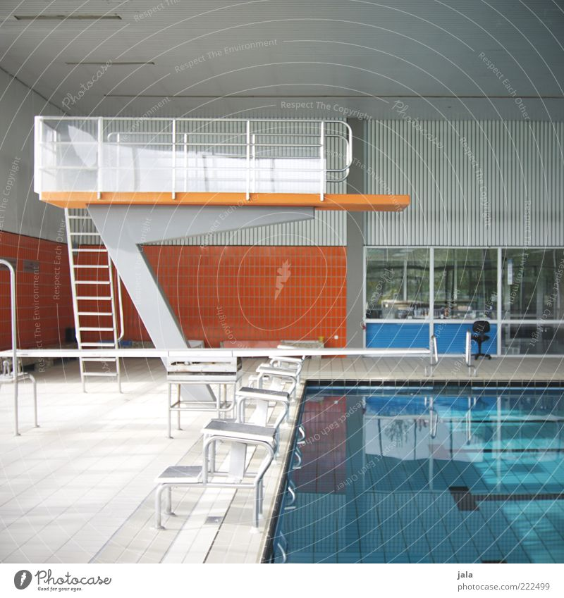 diving platform Springboard Swimming pool Building Small Blue Gray Orange Colour photo Interior shot Deserted Day Indoor swimming pool Ladder Tile