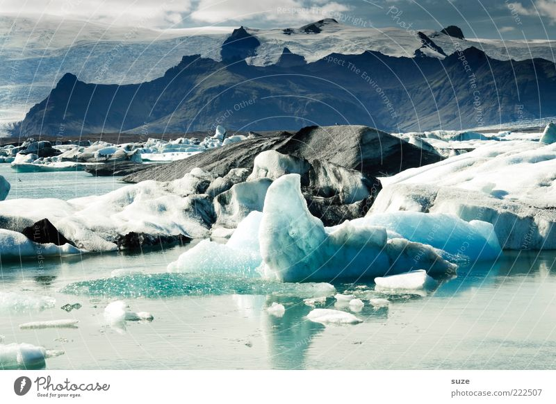 It's cold Far-off places Mountain Environment Nature Landscape Elements Water Clouds Climate Climate change Ice Frost Glacier Lake Glacier ice Mountain lake