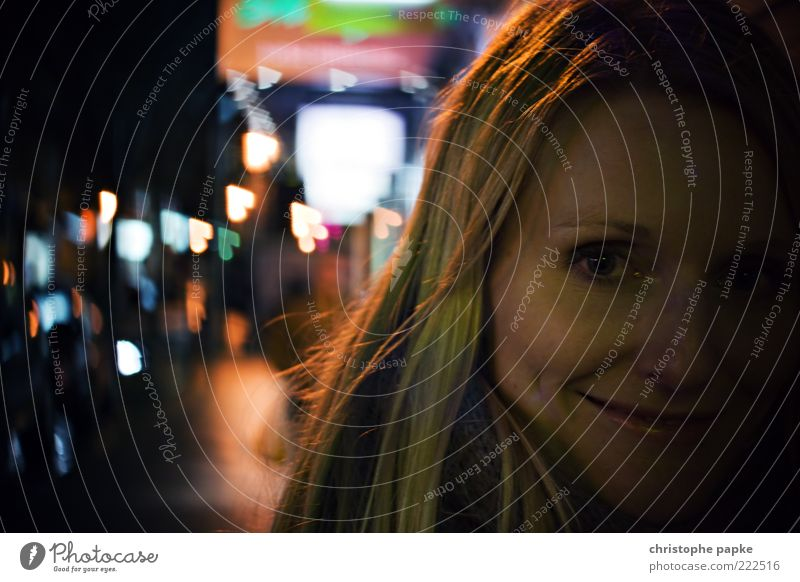 Lovely Bokeh Night life Going out Human being Young woman Youth (Young adults) Face 1 18 - 30 years Adults Town Blonde Exceptional Colour photo Exterior shot