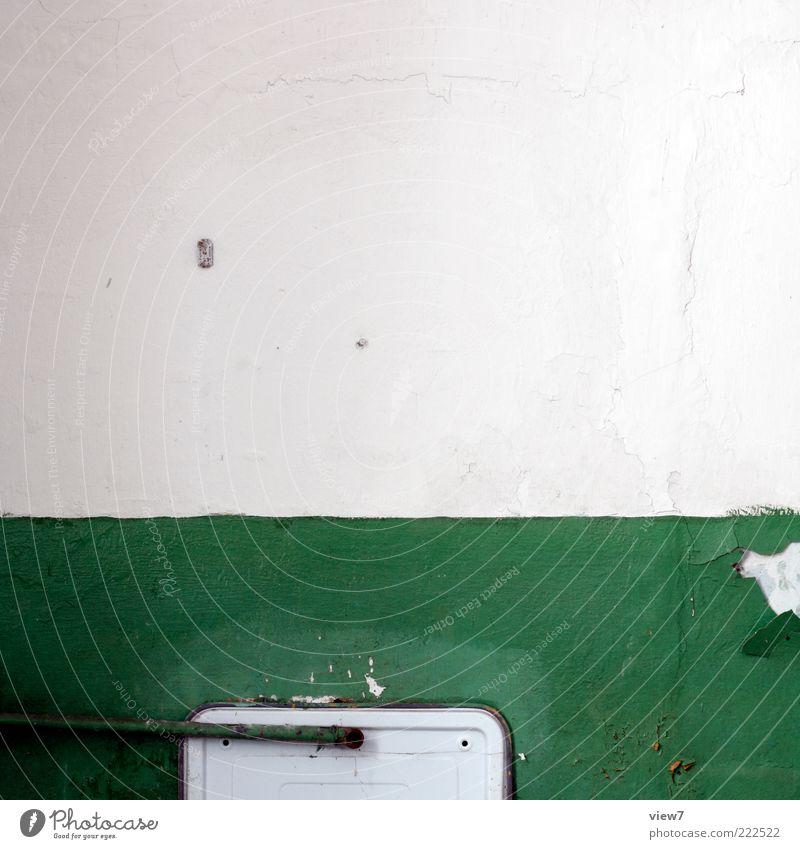 Old Green Wall (building) Above Wall (barrier) Stone Metal Line Room Dirty Design Arrangement Esthetic Bathroom Stripe Decoration